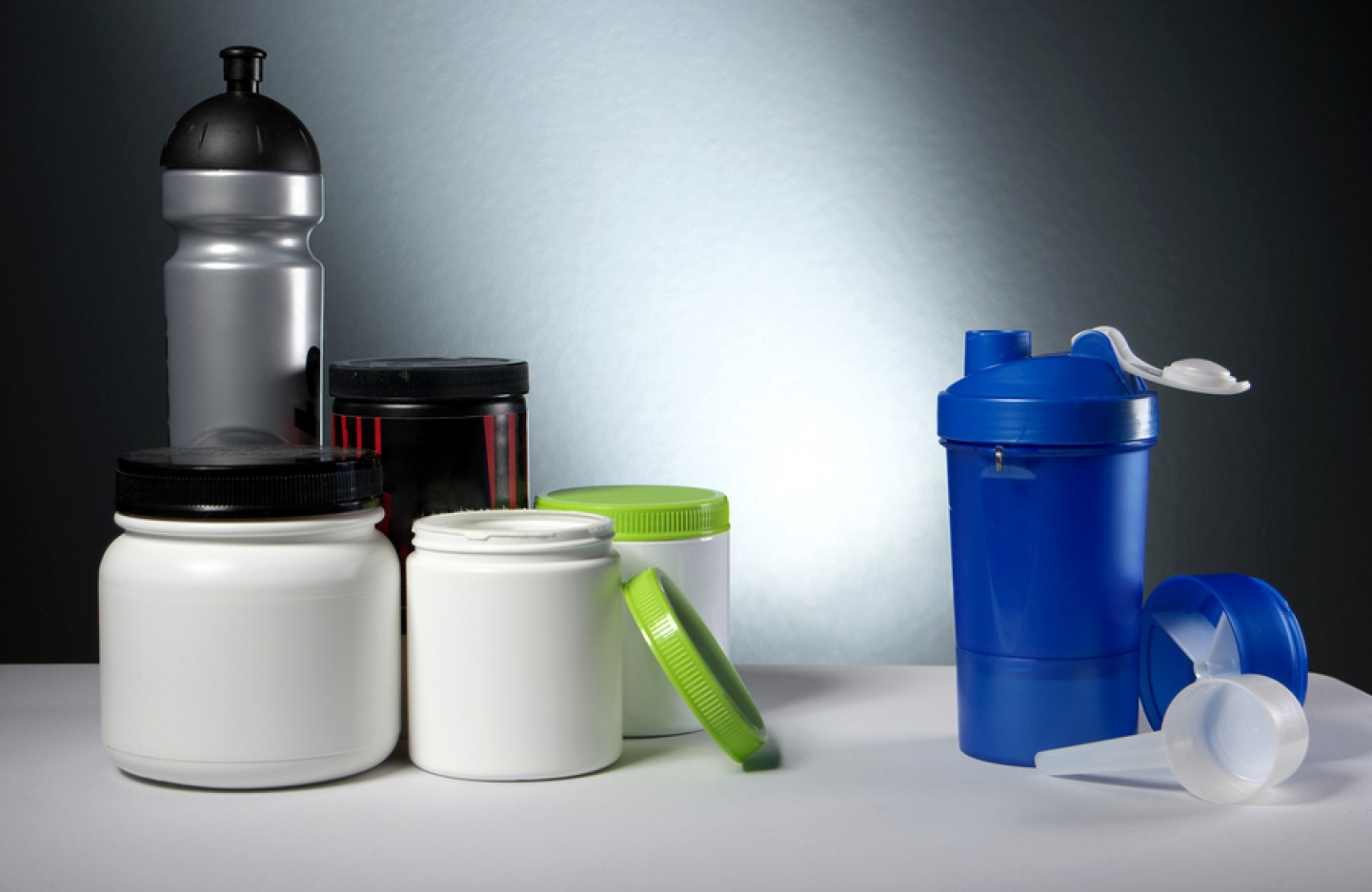 Sport Nutrition Supplement containers with shaker